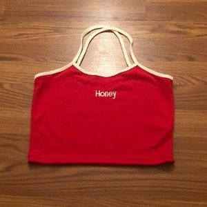 Embroidered Red tank top